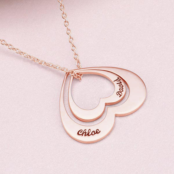 925 Sterling Silver Engraved Double Name Heart Necklace Nameplate Necklace - onlyone