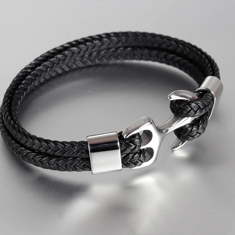 High Quality Men's Titanium Steel Bracelet Black Personality Leather Woven Anchor Leather Bracelet Rope Bracelet For Men Gift - onlyone