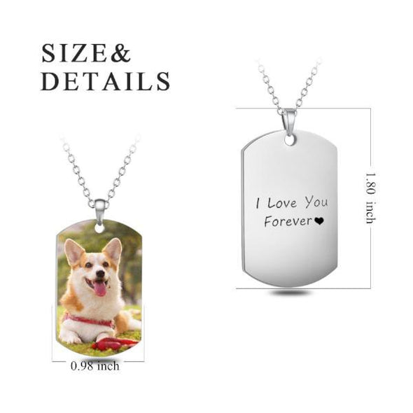 Stainless Steel Photo Necklace Dog Tag - onlyone