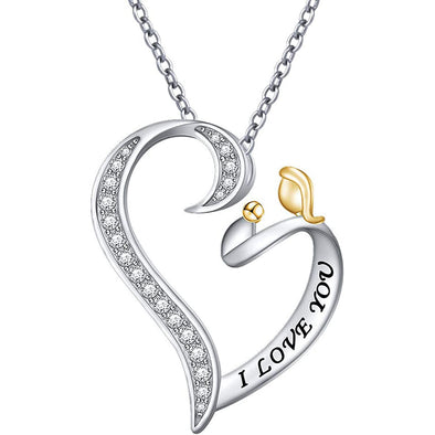 925 Sterling Silver I Love You Mom And Child Heart Necklace