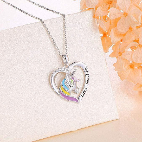 925 Sterling Silver Rainbow Unicorn Necklace 'Life is beautiful' Heart Pendant for Girls Mother Daughter - onlyone