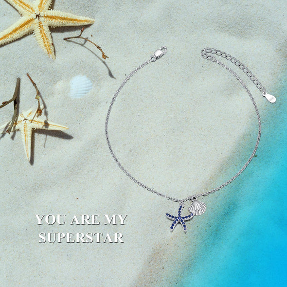 925 Sterling Silver Starfish Shell Fashion Anklet - onlyone