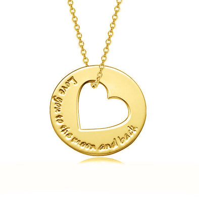 925 Sterling Silver Coin Heart Engraved Name Necklace I Love You To The Moon And Back - onlyone