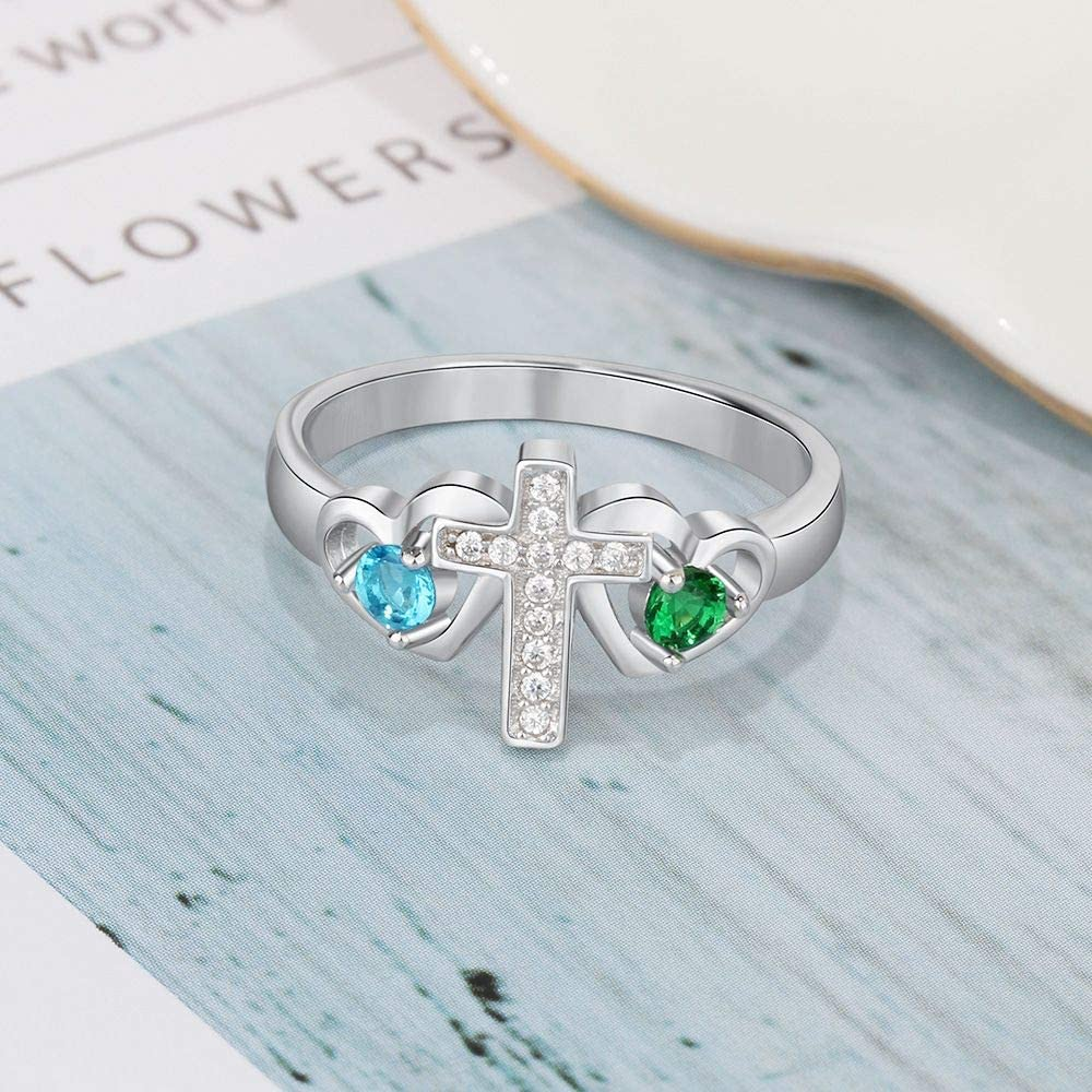 925 Sterling Silver Personalized Cross Ring for Women With 2 Birthstones, Mothers Ring - onlyone