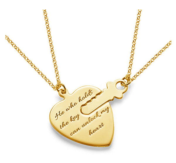 Key To Heart Engraved Name Necklace