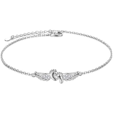 925 Sterling Silver Angel Wings Fashion Anklet Gift Anklet - onlyone