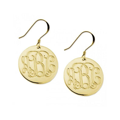 925 Sterling Silver Personalized Engraved Monogram Earrings - onlyone