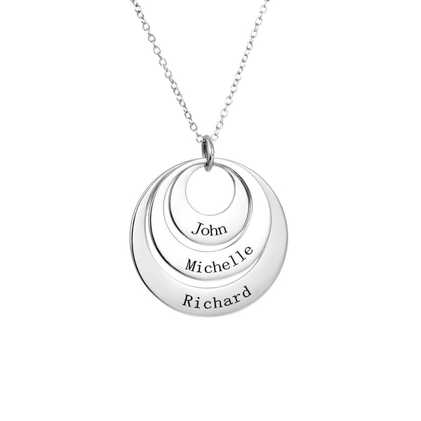 Engraved Three Circle Name Necklace-Engraved Necklaces-YAFEINI-yafeini-personalized-custom-jewelry