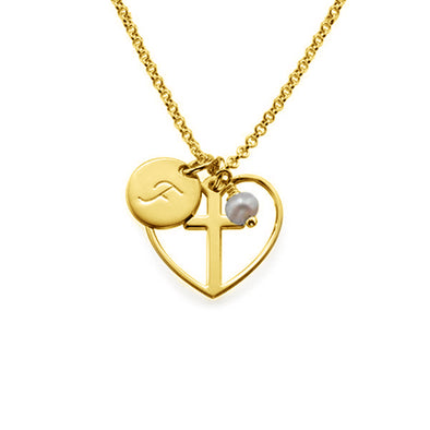 925 Sterling Silver Initial Letter Heart Cross Necklace - onlyone