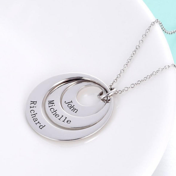 925 Sterling Silver Engraved Three Circle Name Necklace Gift Nameplate Necklace - onlyone