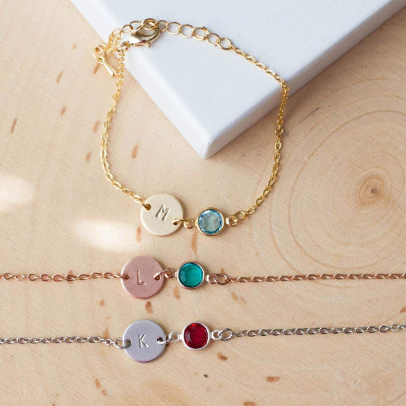 925 Sterling Silver Personalized Initial Anklet With Birthstone - onlyone