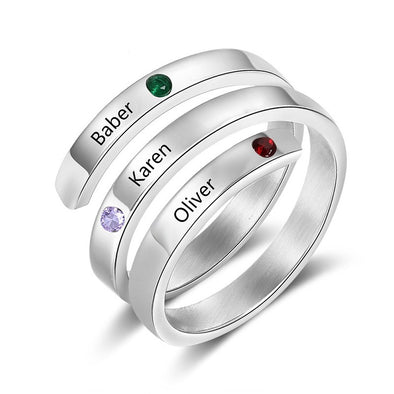 925 Sterling Silver Custom Three Names Ring Family Ring With Birthstones - onlyone