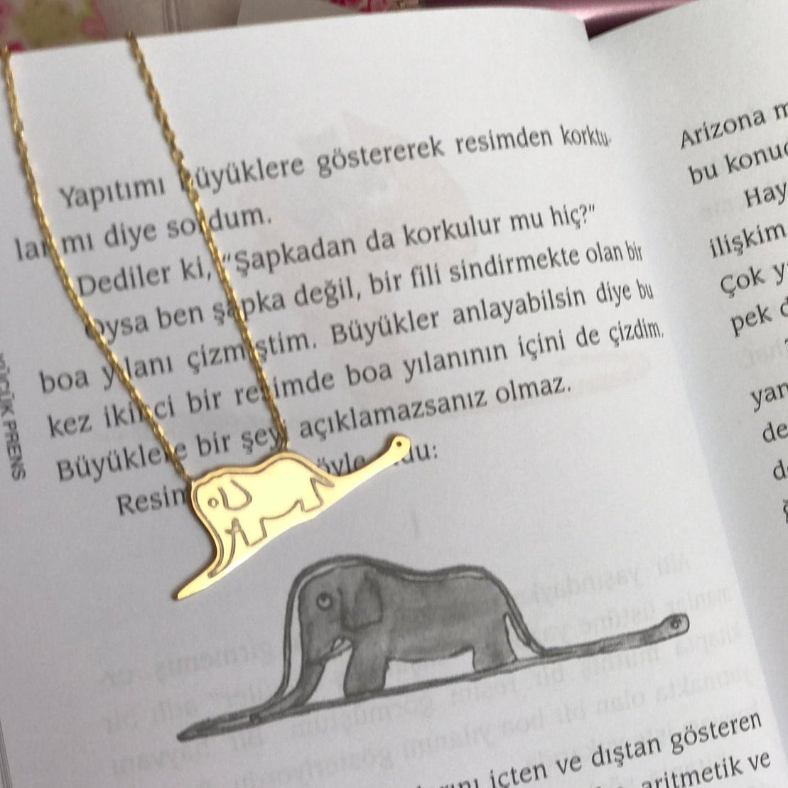 925 Sterling Silver The Little Prince Boa Constrictor Digesting An Elephant Necklace