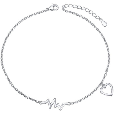 925 Sterling Silver Cute ECG Style Anklet - onlyone