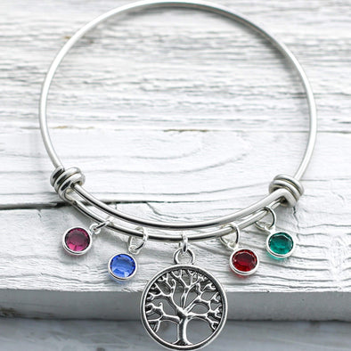 925 Sterling Silver Tree of Life Bangle with Birthstone Charms