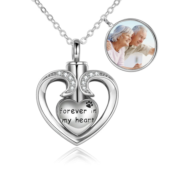 925 Sterling Silver Heart Memorial Urn Necklace, Forever In My Heart Cremation Necklace