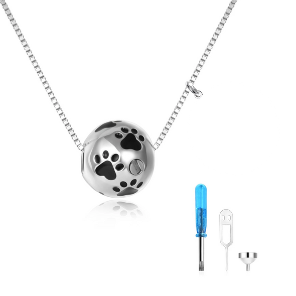 925 sterling silver spherical animal urns necklaces Cremation Jewelry for Ashes