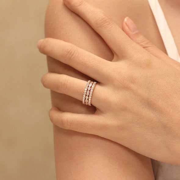 925 Sterling Silver Brilliant Cut Stacking Eternity Ring Set