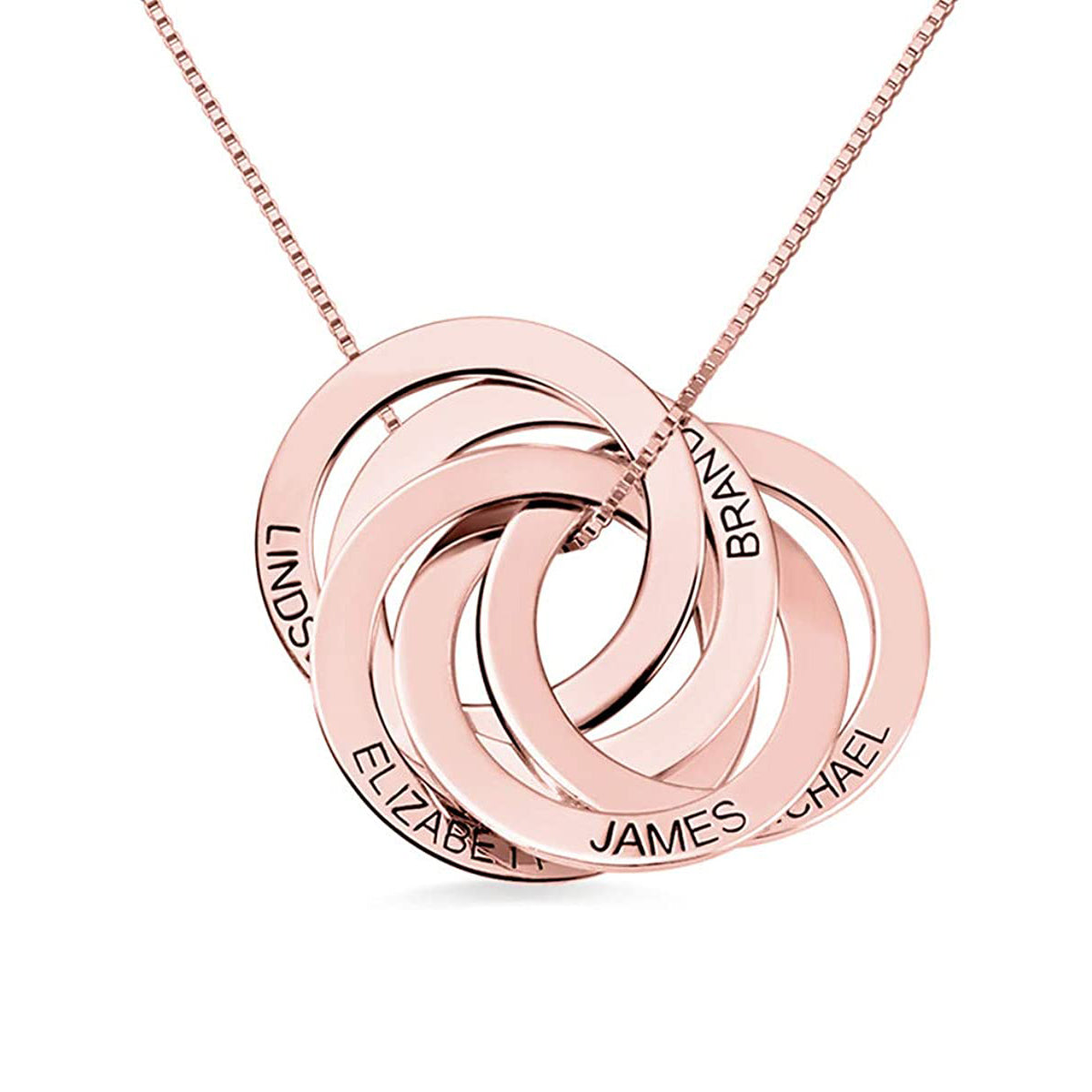 925 Sterling Silver Personalized Engraved Russian Ring Necklace - onlyone
