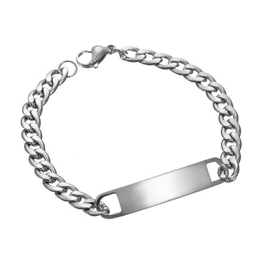 925 Sterling Silver Customized Engraving Nameplate Bar Bracelet In Curb Link Chain