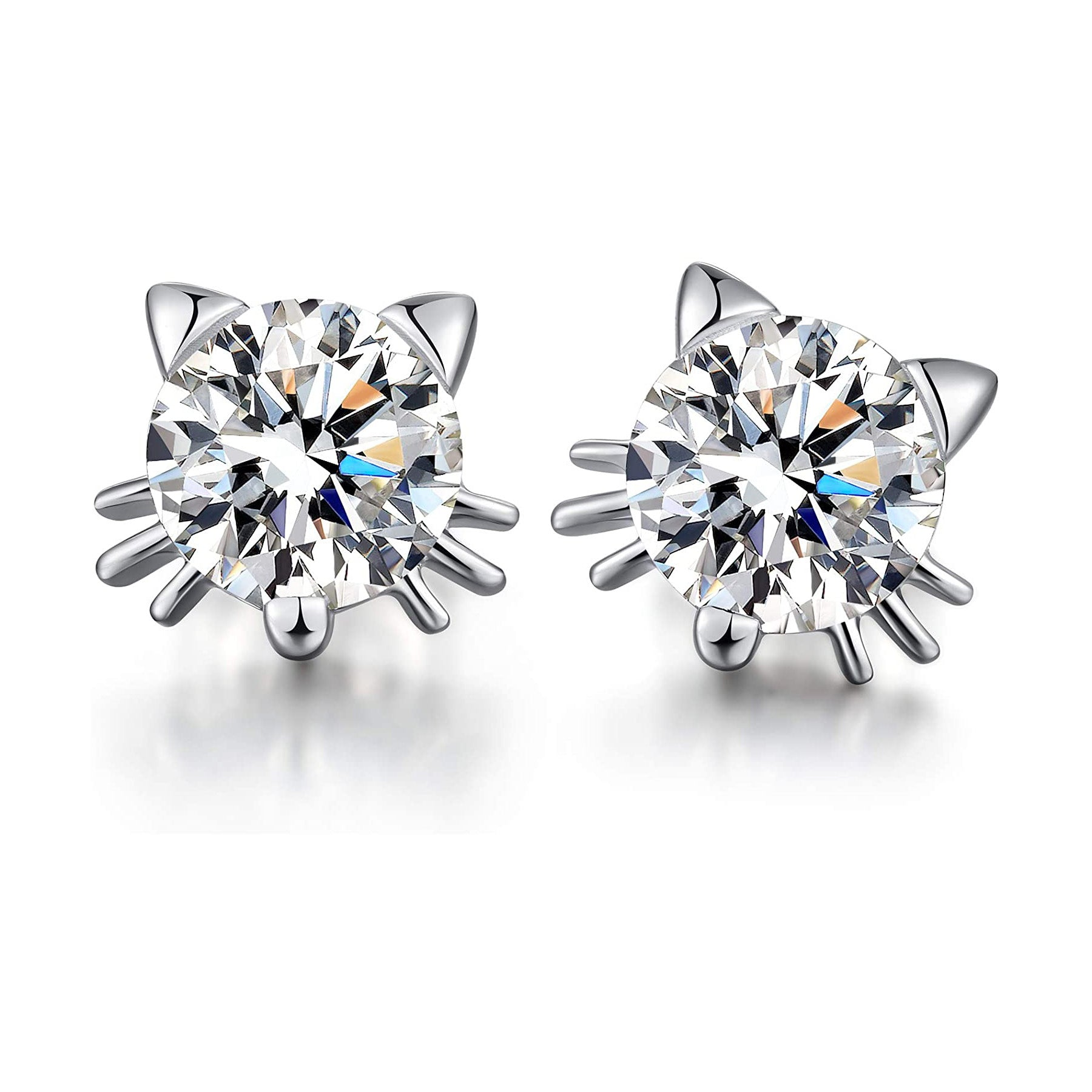 925 Sterling Silver Cute Cat Stud Earrings With 7mm Cubic Zirconia