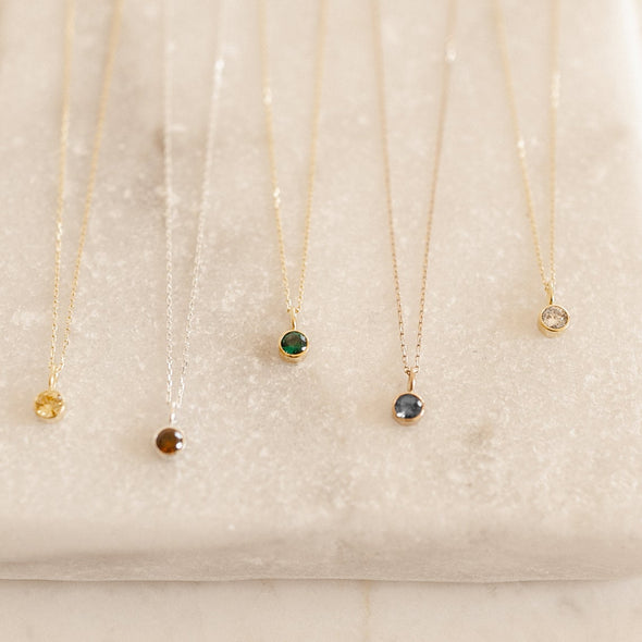 925 Sterling Silver Dainty Birthstone Necklace