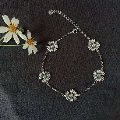 925 Sterling Silver Daisy Flower Anklet, Gift For Her