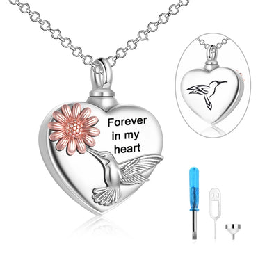 925 Sterling Silver Heart Flower Hummingbird Urn Necklace for Ashes Cremation Jewelry