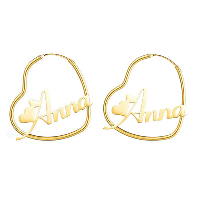925 Sterling Silver Heart Hoop Name Earrings