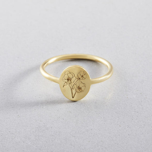 925 Sterling Silver Personalized Birth Flower Ring
