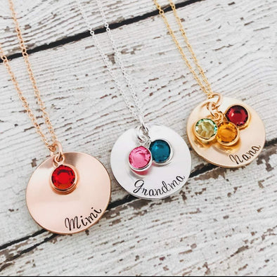 925 Sterling Silver Personalized Coin Necklace With Birthstone