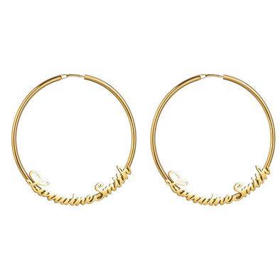 925 Sterling Silver Personalized Hoop Name Earrings
