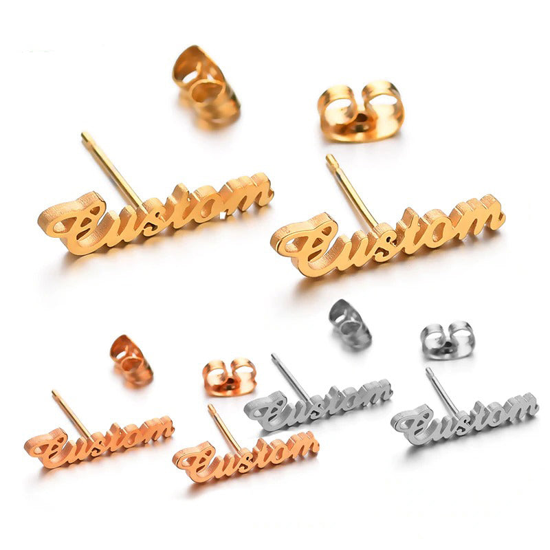 925 Sterling Silver Shiny Stud Name Earrings