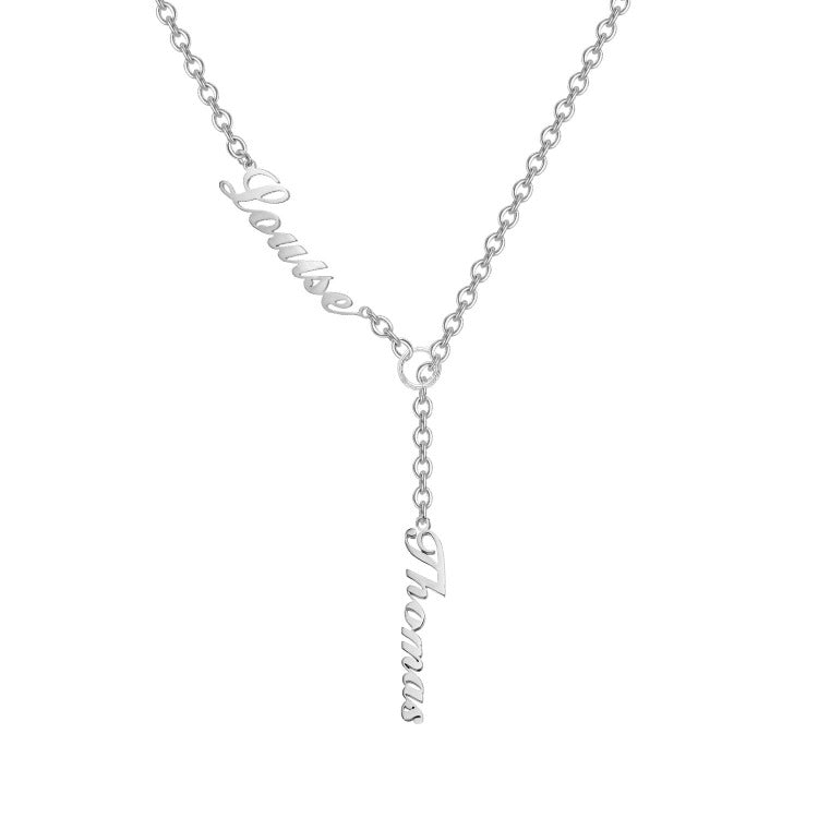 925 Sterling Silver Vertical Lariat Multi Names Y Style Nameplate Necklace