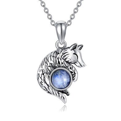 925 Sterling Silver Wolf Pendant Moonstone Necklace