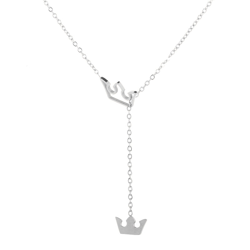 925 Sterling Silver Y Lariat Crown Necklace