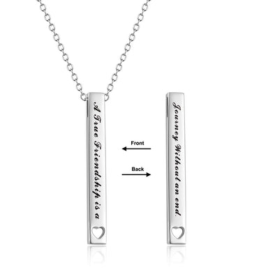 925 Sterling Silver 2 Sides Engraved Vertical Bar Necklace Gift For Friends. A True Friendship Is A Journey Without An End - onlyone
