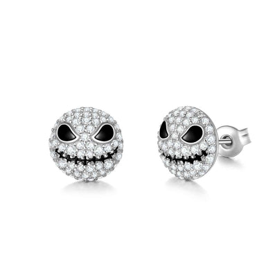 925 Sterling Silver Pumpkin King Jack Skull Nightmare Before Christmas Earring With White Zircon - onlyone