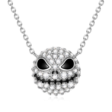 925 Sterling Silver Pumpkin King Jack Skull Nightmare Before Christmas Necklace With White Zircon - onlyone
