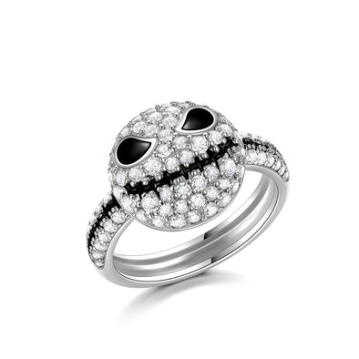 925 Sterling Silver Pumpkin King Jack Skull Nightmare Before Christmas Ring With White Zircon - onlyone