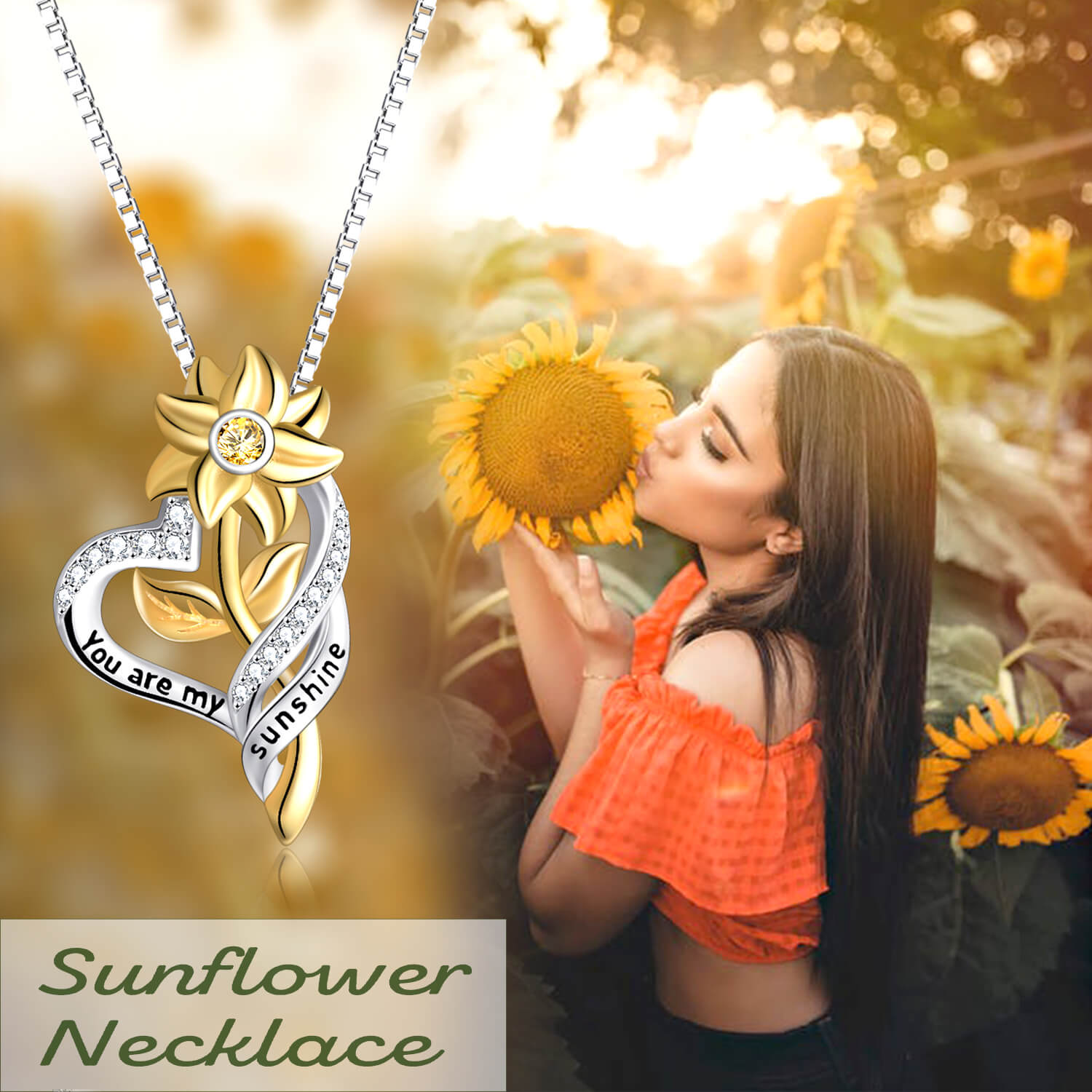 925 Sterling Silver Sunflower Necklace 'You are My Sunshine' Engraved on Pendant - onlyone