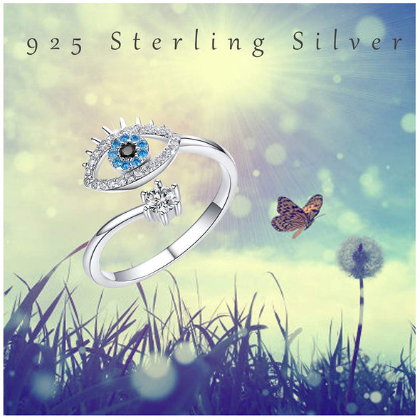 925 Sterling Silver Devil's Eye Ring Adjustable Rings Evil Eye Ring - onlyone