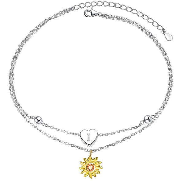 925 Sterling Silver Double Sunflower Customizable Alphabet Anklets Summer Style - onlyone