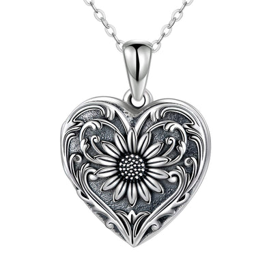 925 Sterling Silver Flower Heart Photo Locket