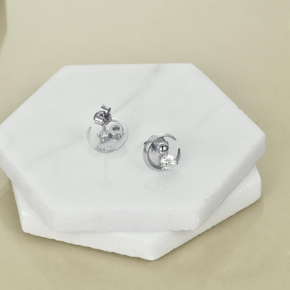 925 Sterling Silver Crescent Cat Stud Earrings