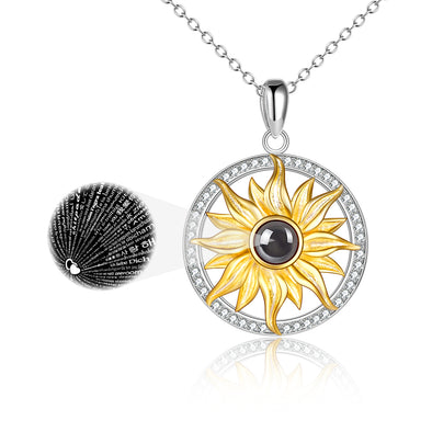 925 Sterling Silver I Love You In 100 Languages Sunflower Necklace - onlyone