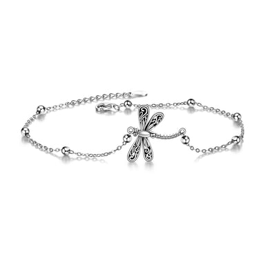 925 Sterling Silver Dragonfly Anklet For Women Animal Beach Ankle Bracelets for Women Teens Girls - onlyone
