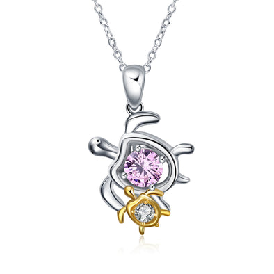 925 Sterling Silver Mom and Baby Turtle Necklace - onlyone