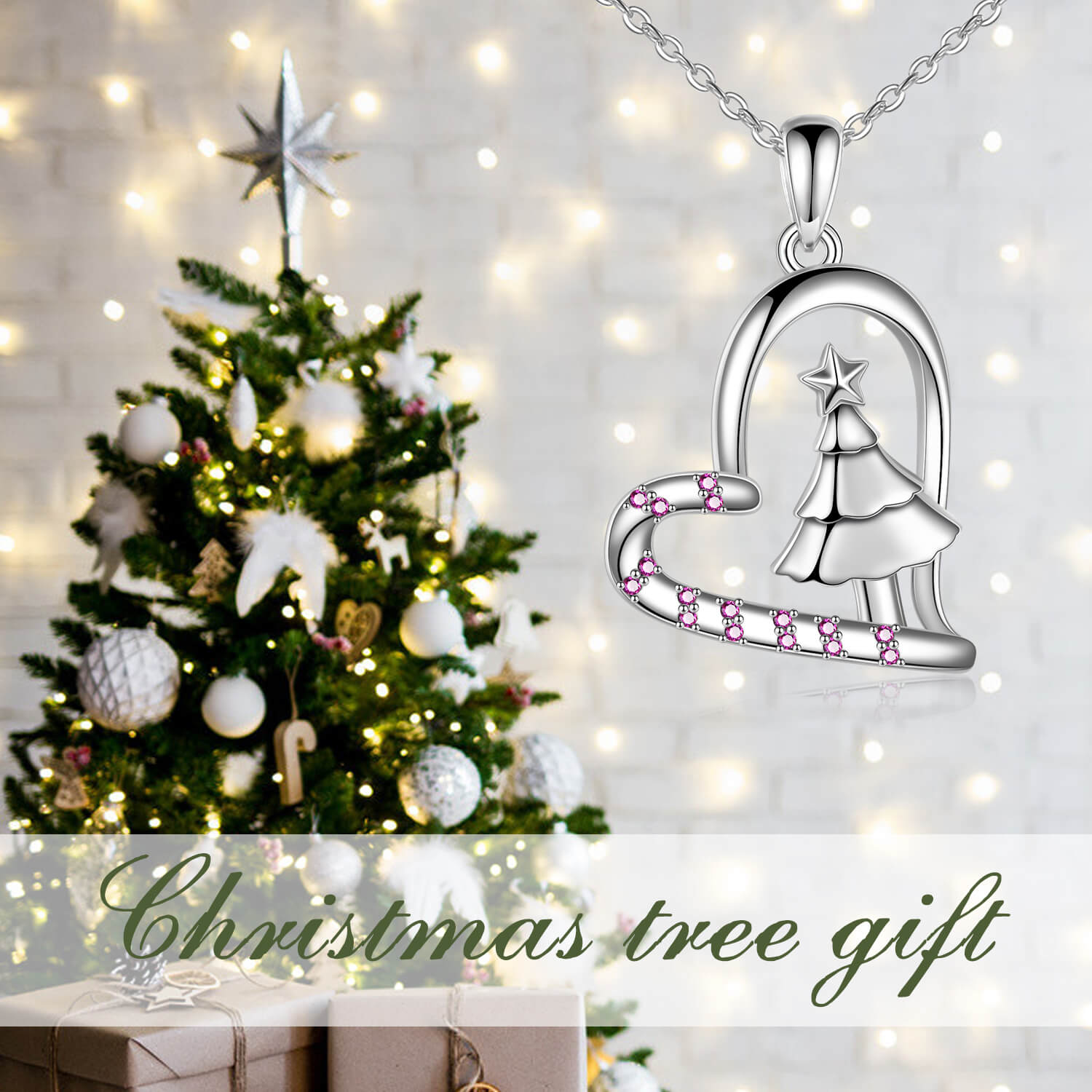 925 Sterling Silver Christmas Tree Heart Pendant Necklace