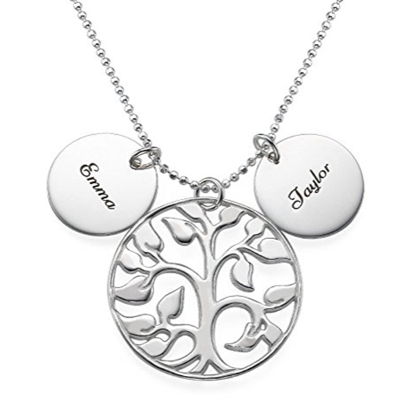 Coin Life Tree Engraved Name Necklace-Engraved Necklaces-YAFEINI-yafeini-personalized-custom-jewelry
